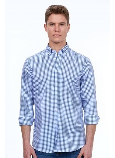 Hemington Kareli Uzun Kollu Gömlek Lacivert